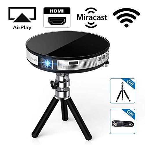 ExquizOn Proyector DLP Portátil R6 Mini Proyector 854 * 480 Soporta Video 1080P Full HD para Cine en Casa Entrada de USB HDMI Multimedia Conexión por WiFi Batería Incorporada para Uso al Aire Libre
