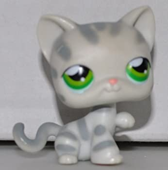 Shorthair #32 Tabby Cat  Grey Green Eyes Tabby Stripes  Littlest Pet Shop  Retired  Collector Toy - LPS Collectible Replacement Single Figure - Loose  OOP Out of Package & Print