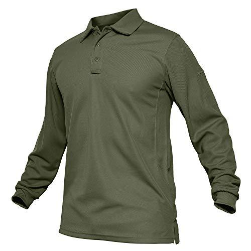 TACVASEN Outdoor Performance Polo Collar Lightweight Long Sleeve Shirt Army Green,US L