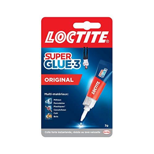 Loctite Super Glue-3 Original, colle forte et résistante de haute qualité, colle liquide tous matériaux, colle transparente à séchage rapide, tube 3 g