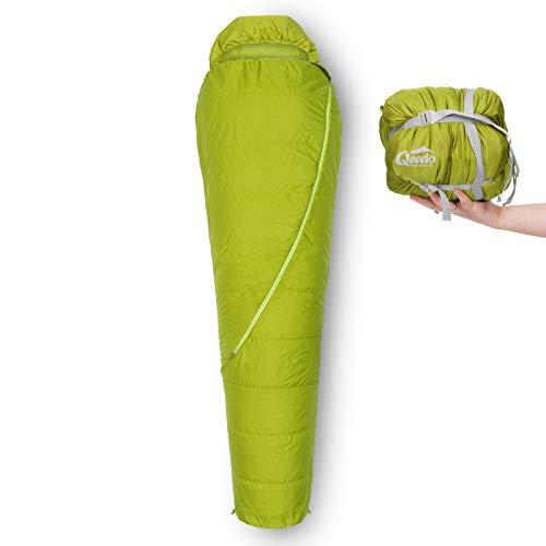 Qeedo Hitazo Schlafsack, Mumienschlafsack, leicht, kleines Packmaß, 225x80 cm (LxB) - grün