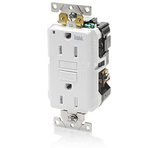 Leviton G5262-WTW 15A-125V Extra-Heavy Duty Industrial Grade Weather/Tamper-Resistant Duplex Self-Test GFCI Receptacle, White, 15-Amp