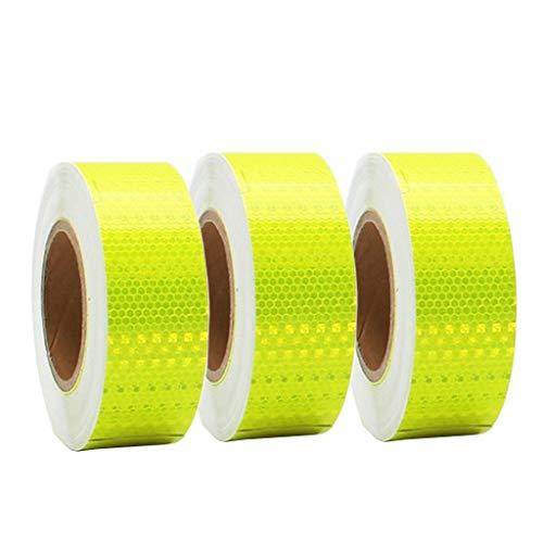 ZKKWLL Sicherheitsband Reflektierende Warnband, hohe Sichtbarkeit Sicherheit Selbstklebende Dichtungsbahnen, Aufkleber for Fahrzeuge, LKW for Fahrradhelme 25M * 50mm, gelb Reflexfolie (Size : 3pcs)