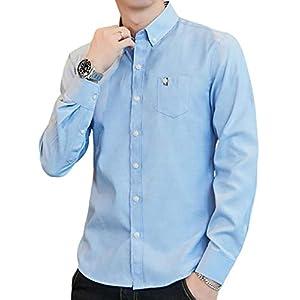 OKJCON シャツ メンズ 長袖 オックスフォードシャツ カジュアル ビジネス 春 秋 綿 無地 おしゃれ 大きいサイズ (ブルー, M)
