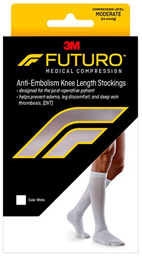 Futuro Anti-Embolism Knee Highs, Unisex, Moderate Compression, 15-20 mm/Hg, Large, White, Helps Reduce Formation of Blood Clots