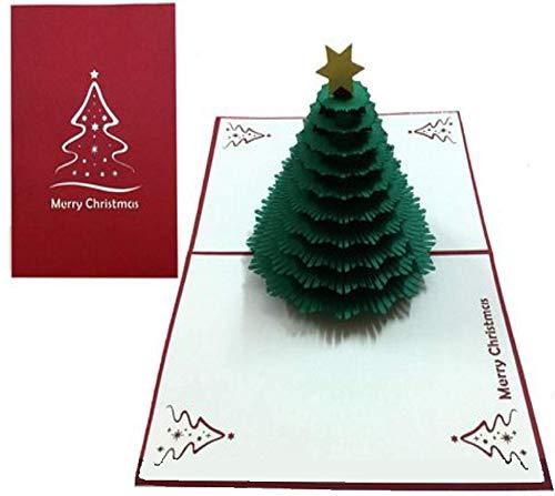 Tarjeta de Navidad emergente 3D hecha a mano de BC Worldwide Ltd, tarjeta de felicitación, conífera de árbol de hoja perenne, corte láser de papercraft, regalo de kirigami de origami
