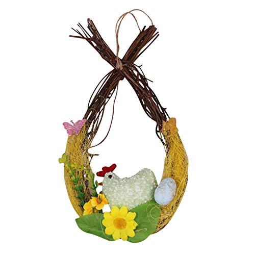Artificial Flower Wreath, Door Wreaths for Spring Summer All Seasons, Easter Eggs Laying Chicken Wreath Decoration Door Window Ornament