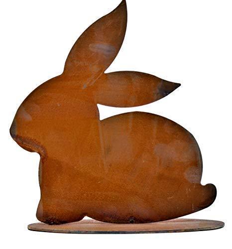 Rostikal | Edelrost Metall Hase sitzend, Osterdeko Rost | Deko Figuren zur Osterdekoration für Haus und Garten | 23 x 24 cm | Rost