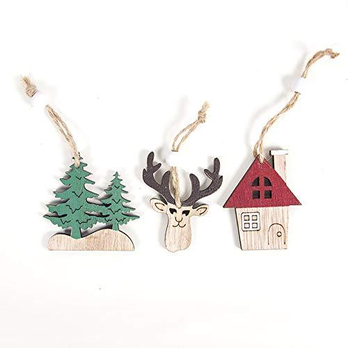langchao Ciondolo Decorazione in Legno Natalizio Ciondolo Decorazione Albero di Natale Cervo Auto Natalizia Creativa 3 Pezzi