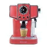 ECODE Cafetera Espresso Delice Rosso, 20 Bares de Presión, Vaporizador Orientable, Depósito de 1.5 litros, Mono/Doble dosis, Manómetro con Temperatura ECO-419 DR