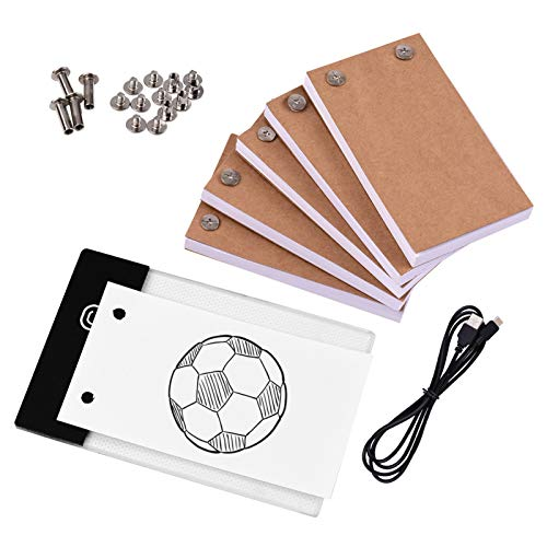 Adaskala Flip Book Kit with Light Pad LED Light Box Tablet 300 Sheets Drawing Paper Flipbook with Binding Screws for Drawing Tracing Animation Sketching Cartoon Creation