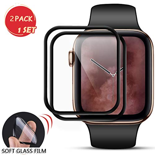 for Apple Watch 40mm Series 4/5 Smartwatch Screen Protector-Max Coverage 3D Curved Flexible Protective Film Tempered Film [9H Hardness+Clear+Scratch Resist+No-Bubble+Strong adsorption](40mm-2 Pack)