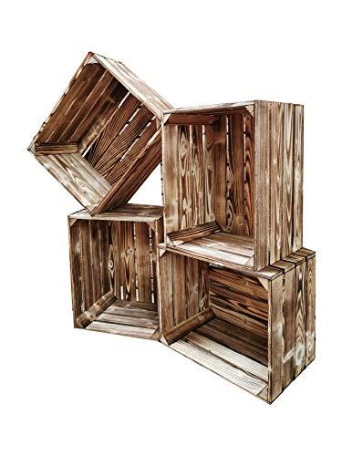 Teramico geflammte/braune Apfelkisten 50cm x 40cm x 30cm Set Angebote Holzkisten Weinkisten Obstkiste Kiste Box (Holzkiste NEU, 4)