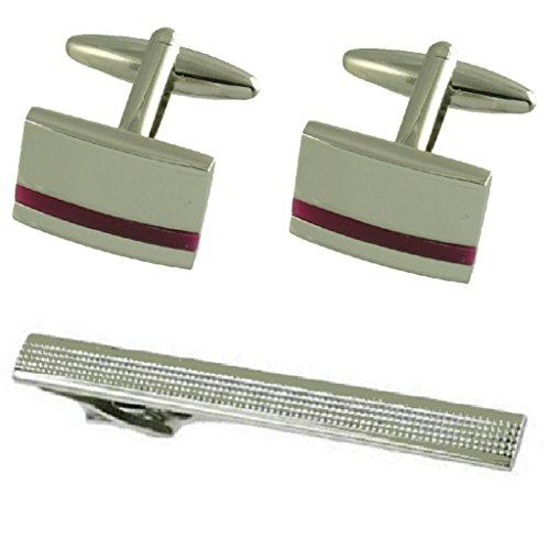 Select Gifts Boutons de manchette argent Améthyste violet Set cadeau cravate avec 65mm