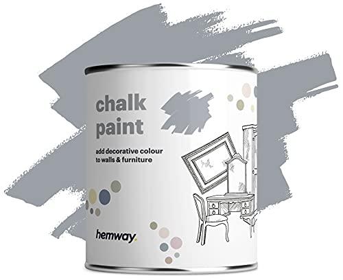 Hemway Pintura de tiza con acabado mate para paredes y muebles, 1 litro, estilo Shabby Chic Vintage (36 colores disponibles) (1 L, 35 oz), color gris pizarra