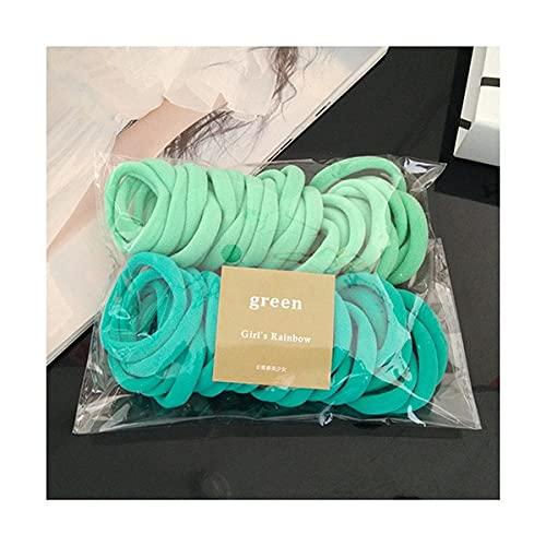 Fmaoltkk Bandas de pelo elásticas de nylon coloridas Set cola de caballo Titular Bandas de goma Accesorios para el cabello 50PCS (verde)