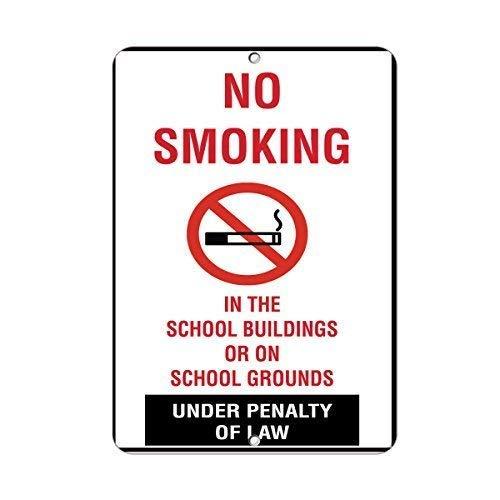 aqf527907 Niet roken in School Gebouwen Gronden Activiteit Waarschuwing Teken Grappige Metalen Tekenen en Plaque voor Huis Poort Decor 8x12 Inches