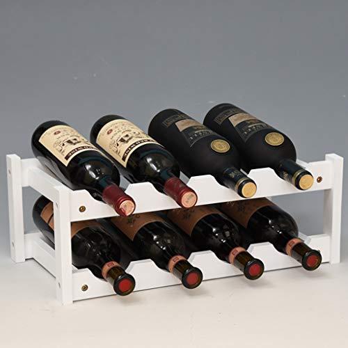 Cajolg Madera Botellero Wine Rack,Fabricación de bambú Grueso seleccionado Decoración del Hogar Botelleros Vino,Puede Contener 6 Botellas de Vino Tinto,Blanco,A
