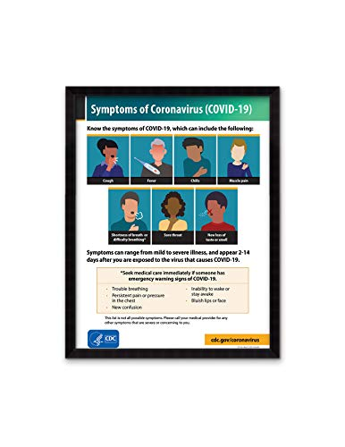 Coronavirus (Covid-19) CDC Workplace Signage -'Symptoms of Coronavirus (COVID-19)' - Sign and Frame (Black)