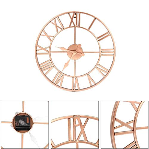 Shan-S Wall Watch 40cm, Copper Roman Openwork Numerals Clock Silent Wall Clock for Home Decor Living Room Decoration Wall Clock Modern Design