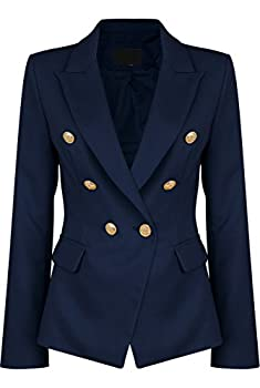 Womens Double Breasted Military Style Blazer Ladies Coat Jacket  US18 Navy