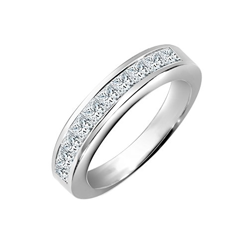 Jewelco Europa conjunto de canales de oro blanco sólido de 18 quilates para mujer, princesa G VS 0.25ct, anillo de eternidad con banda delicada de diamantes de 2.5 mm