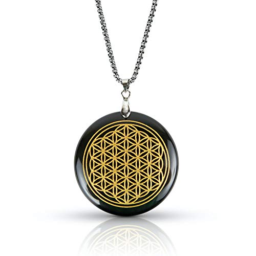 Black Obsidian Stone Necklace | Luxar | Spiritual Pendant | Flower of Life | Silver Metal Chain | 1.57 Inch Diameter Pendant and Presentation Box