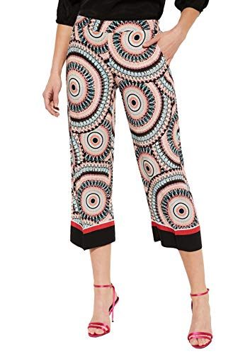 comma Damen 7/8-Hose mit dekorativem Allovermuster White AOP African Pattern Circle 44