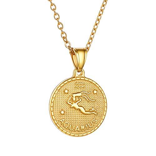 GoldChic Unisex Collar Aries Medalla Redonda Oro de Ley enchapado Collar de Constelaciones de Nacimiento