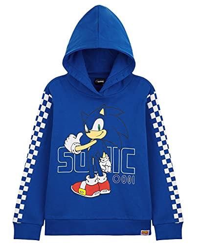 Sonic Felpe con Cappuccio per Ragazzo, Felpa Bambino in Cotone 4-14 Anni, Idea Regalo di Compleanno per Ragazzi (Blu, 4-5 Anni)