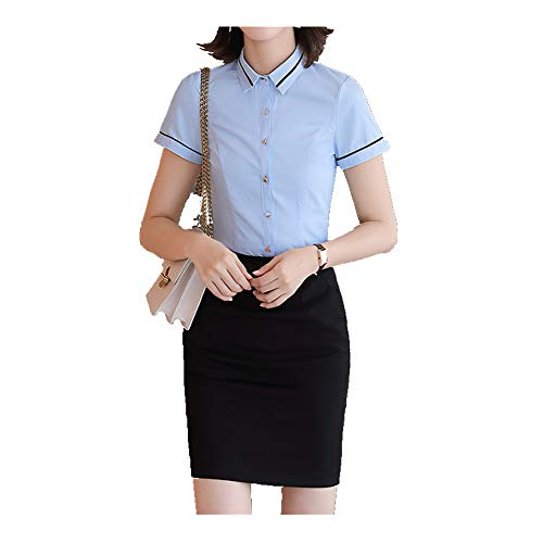 N\P Professional White Shirt Women's Summer Square Collar Slim Slim Twill Short Sleeve Shirt Women's Work Clothes
