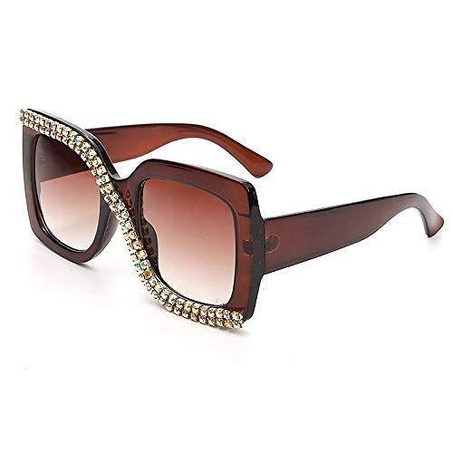 OcchialidaSoledaUomo Occhiali da Sole Quadrati con Strass Occhiali da Sole Oversize Vintage da Donna Unique Glasses Shades 3