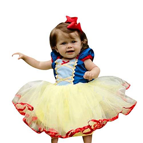 DOGZI Ropa Bebé Halloween,Niños Bebé Manga Corta Princesa Vestidos Niña Encantador Cordón Fiesta Vendimia Vestidos de tutú Blancanieves Vestido de Arco (80, Azul)