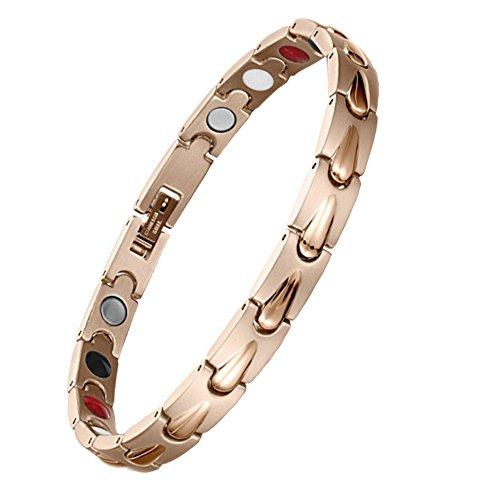 Bracelet Femme Acier Inoxydable 4 Eléments Or Rose