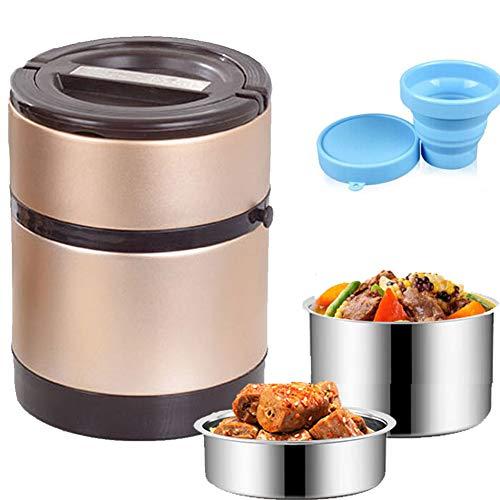 Isolier-Speisegefäß, Thermobehälter,Mobil genießen,1,3/2 Liter, Dicht,Edelstahl, Isolierbehälter Box für Warme Speisen,Champagnegold,1.3L