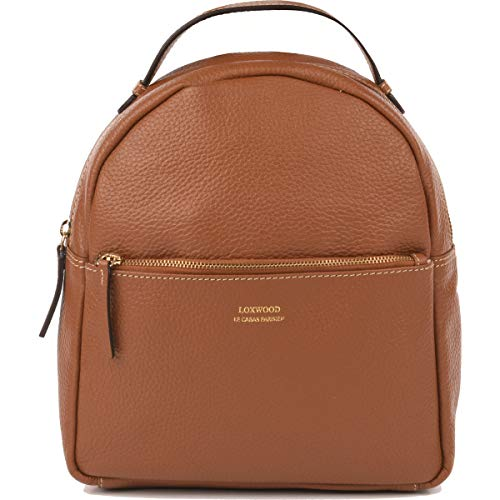 Flower – Grained Leather Backpack - Brown - One size