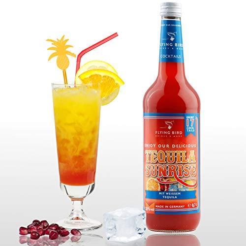 Tequila Sunrise 28% Vol. | Premix, Fertig Mix für 17 Cocktails mit Alkohol | Flasche 0,7l mit allen Zutaten | Einfach mit Orangensaft mixen