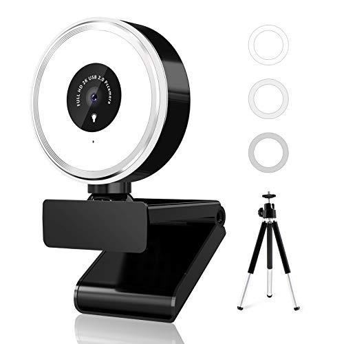 QI-EU Webcam 2K con micrófono y anillo de luz, webcam con trípode, USB, corrección automática de la luz, cámara web para videochat, conferencia y grabación, compatible con Windows, Mac y Android