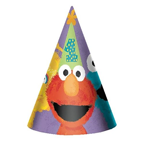amscan Sesame Street 1st Birthday Party Cone Hats Party Supplies, 7', Purple
