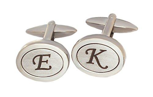Manschettenknöpfe Monogramm nur noch D, E, F, G, H, I, K, L, M, P - Sie können 2 Buchstaben auswählen - silbern oval matt glänzend + Box