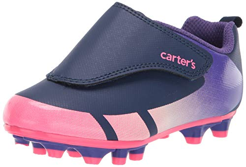 Carter's Girl's Fica Hook and Loop Sports Cleat Sneaker, Purple, 8 Toddler