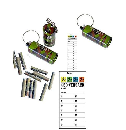 3 x Geocaching Versteck Metallbehälter MICNO (Micro Nano), MICNO Camouflage Flecktarn Tarnfarben Tablettenaufbewahrung, Pillcase, Cache Container, Cache versteck,