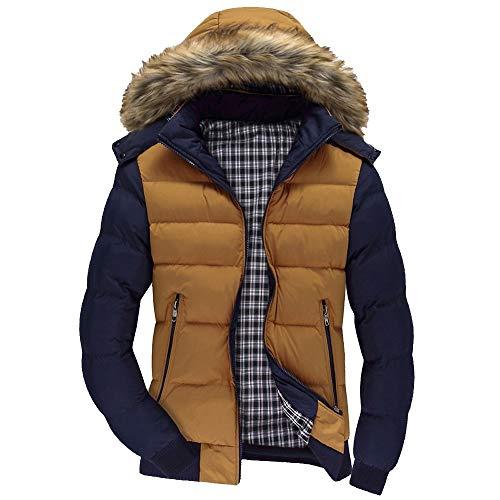 BaZhaHei Uomo Top,Inverno Giacca con Cappuccio da Uomo Giacca da Uomo Sci Uomini Ragazzi Casual Caldo Cappuccio Inverno Cerniera Cappotto Outwear Giacche Jacket Top Camicetta (Yellow 1, M)