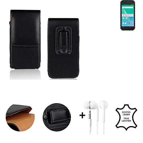 K-S-Trade® Leder Gürtel Tasche + Kopfhörer Für Panasonic Toughbook P-01K Seitentasche Belt Pouch Holster Handy-Hülle Gürteltasche Schutz-Hülle Etui Schwarz 1x