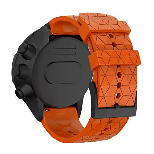 WIIKAI Cinturino Compatibile per SUUNTO 9 Baro/SUUNTO 9 Regolabile di Ricambio Bracciale(Arancione).