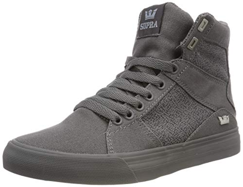 Supra Aluminum High Top Lace Up Sneaker Shoes, Gray-Gray, Size 9.5