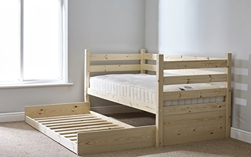 Day Bed in Natural Pine with Pull out Trundle Single Bed