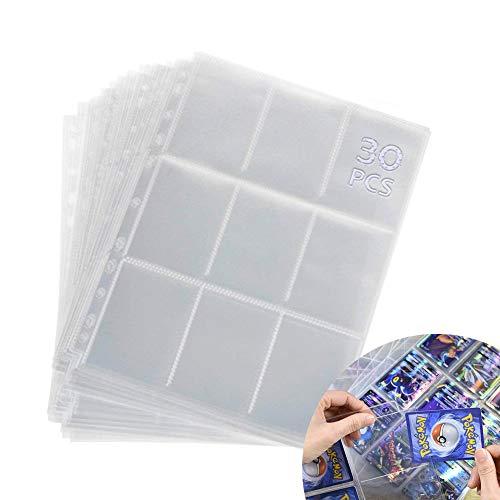 Seatek Leere Sammelalbum, 540 Taschen Sammelkarten Folien, Pockets Sammelkarten,Pokemon sammelkarten,Transparent Sammelheft, Geeignet für eine Vielzahl von Ringbücher