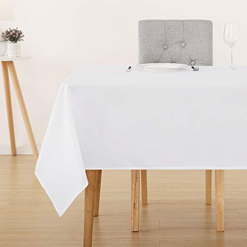 Deconovo Tischdecke Wasserabweisend Tischwäsche Lotuseffekt Tischtücher 137x200 cm Weiß