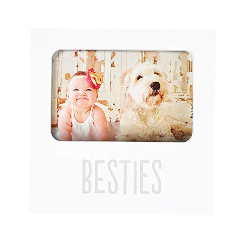 Kate & Milo Besties Keepsake Photo Frame, Best Friends Gifts, Perfect Baby Shower Gift to Show Off A Photo of Baby and Furry Pet Companion, White